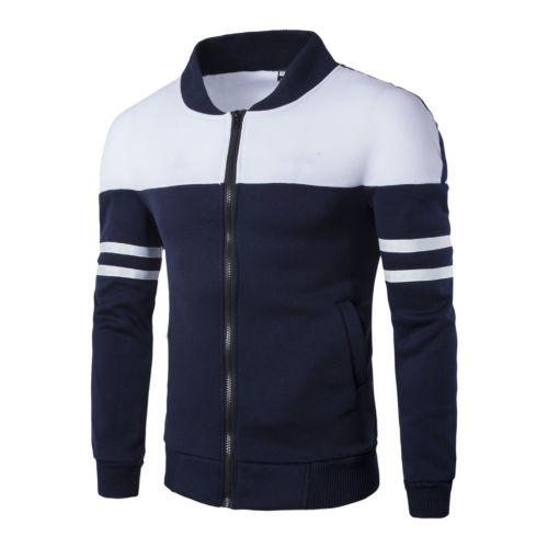 Fashion Newly Stylish Men's Winter Slim Warm Zipper Jacket Color Patch Stripedeticdress-eticdress