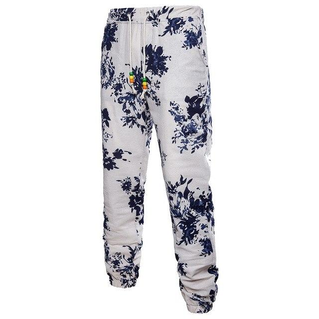 3D Floral Printed Linen Pants Fashion Men Joggers Trousers Casual Summereticdress-eticdress