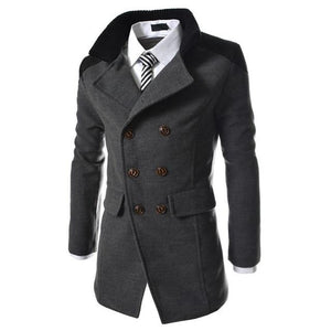 winter fashion long trench coat men good quality double breasted wool blendeticdress-eticdress