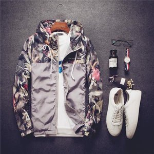 Men Hooded Jacket 2018 Autumn New Fashion Men's Floral Hooded Windbreaker Lightweighteticdress-eticdress