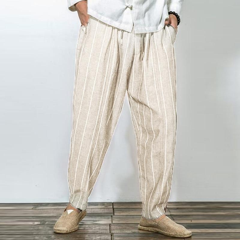 Japanese Style Wide Leg Pants Men Cotton Baggy Harem Pants Stripes Straighteticdress-eticdress