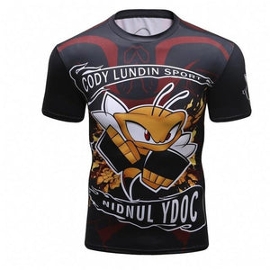 Men's Compression Shirt Rashguard Short Sleeve 3D Print Jiu Jitsu T shirteticdress-eticdress
