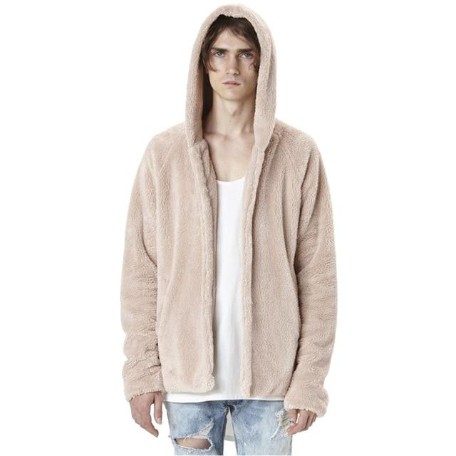 Fashion Men's Autumn Winter Casual Loose Double-sided Plush Hoodie Coat Top Solideticdress-eticdress