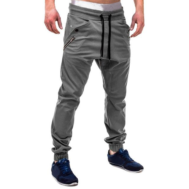 FeiTong Sweatpants for Men Fashion Zipper Patchwork Cotton Casual Sweatpants Drawstring Panteticdress-eticdress