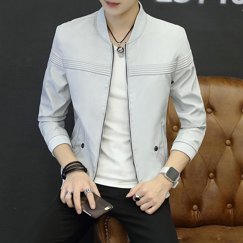 2018 New High Quality Man's brand Jacket Fashion Slim Teens Black Grayeticdress-eticdress