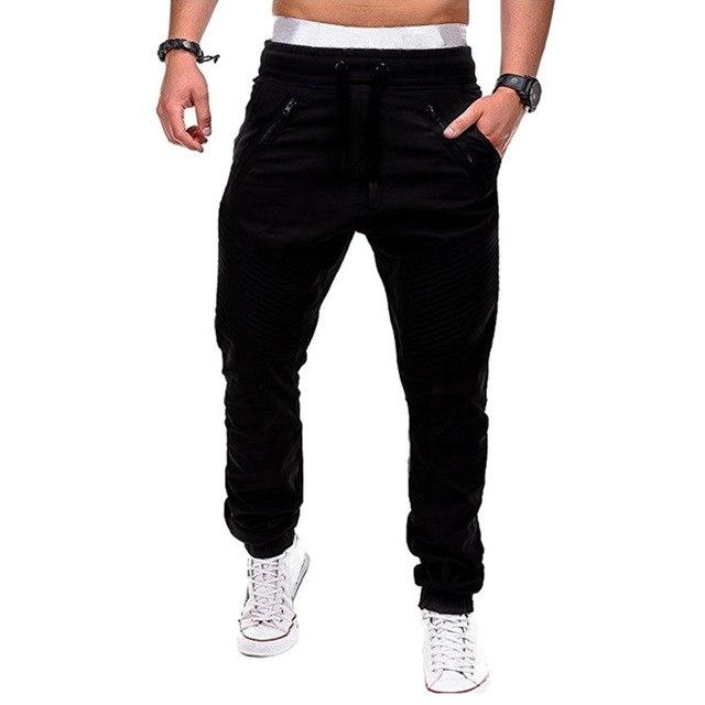 Heflashor brand Men's Casual Pants Joggers Solid Multi-pocket Drawstring Pants Sweatpants 2018eticdress-eticdress