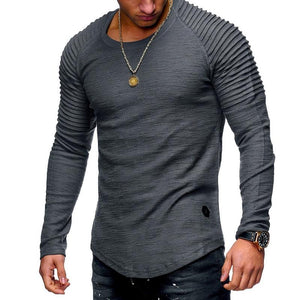 2018 Men Striped Fold T-shirts Solid O-neck Short Long Sleeve T-Shirteticdress-eticdress