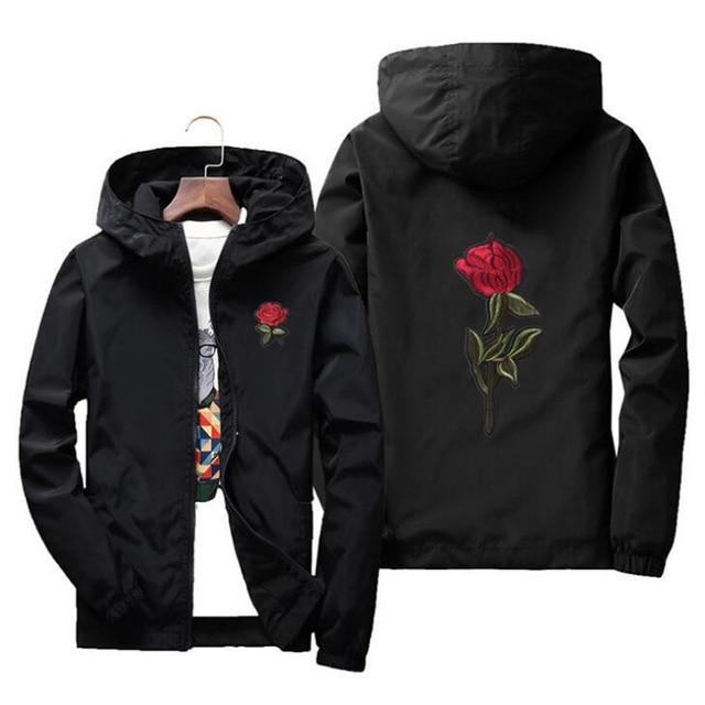 Embroidery Rose Flower windbreaker Jacket men Hooded bomber jacket Skin Menseticdress-eticdress