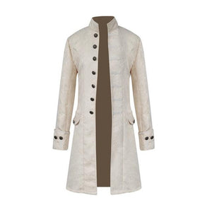 Men Steampunk Military Vintage Coat Stand Collar Single Breasted Solid Jackets Maleeticdress-eticdress