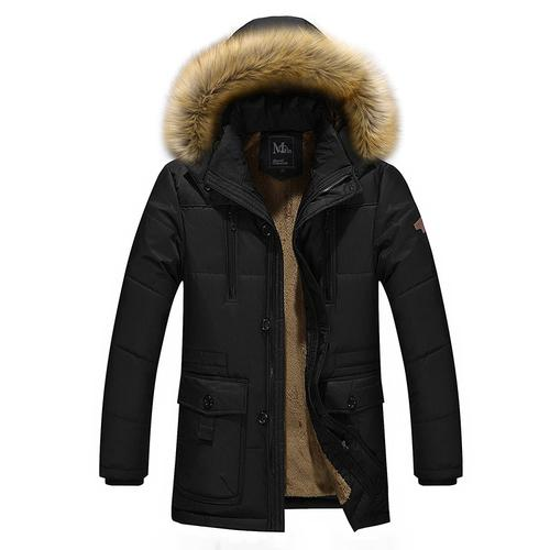 2018 Autumn Winter Jacket Men Parka Fur Hooded Quilted Padded Wadded Windbreakereticdress-eticdress