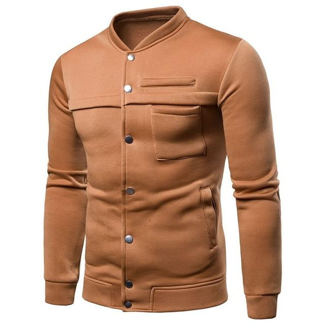 2018 Classic Button Men Jackets Slim Fit Stand Collar Long Sleeveeticdress-eticdress