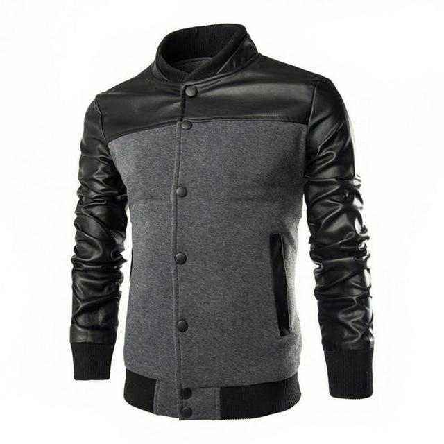 Men's PU Leather Patchwork Jacket Bomber Single-breasted Standing Collar Coat Maleeticdress-eticdress