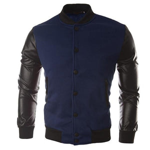 PU Leather Men's Jacket Motorcycle Stitching Leather Jacket Pilot Single Breastedeticdress-eticdress