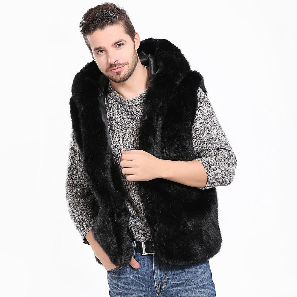 Men Faux Fur Vest Jacket Sleeveless Winter Body Warm Coat Hooded Waistcoateticdress-eticdress