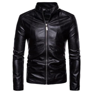 Leather Jacket Men 2018 Autumn Winter New Style Fashion Black Stand Collareticdress-eticdress