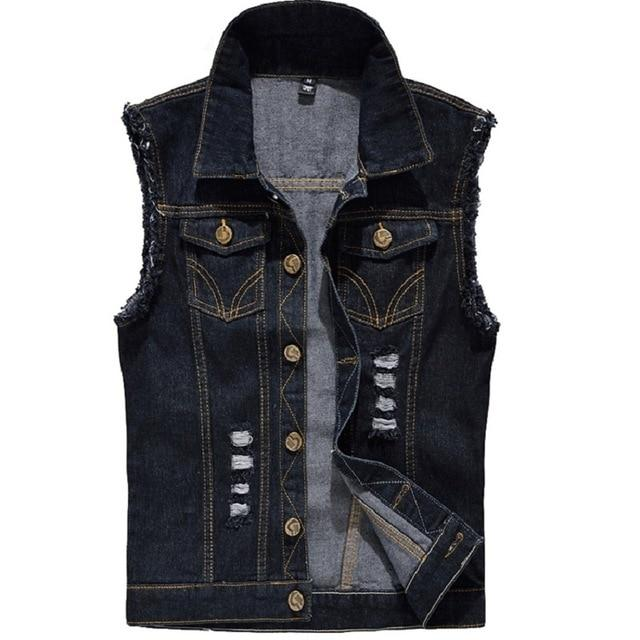 Denim Vest Mens Sleeveless Jackets Fashion Washed Jeans Waistcoat For Menseticdress-eticdress