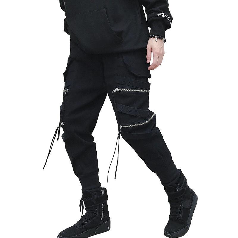 New Hip Hop Streetwear Joggers Men Black Zipper Ribbon Harem Pants Cottoneticdress-eticdress