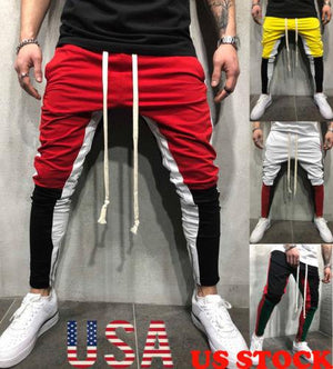 Men Slim Fitness Trousers Long Pants Tracksuit Bottoms Skinny Joggers Men's Sweateticdress-eticdress