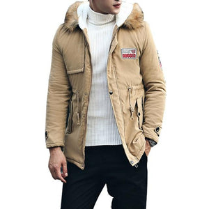 2018 New Men's Thick Warm Winter Down Coat Long Fur Collar Armyeticdress-eticdress