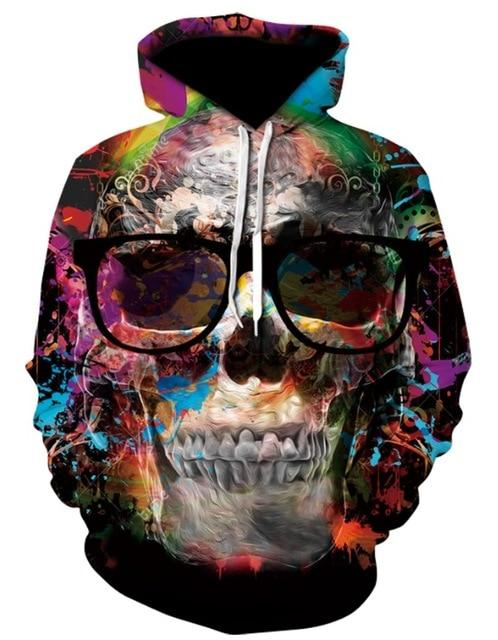 Men's Casual Single Layer 3D Print Skull Series Hooded Sports Jacket Unisexeticdress-eticdress