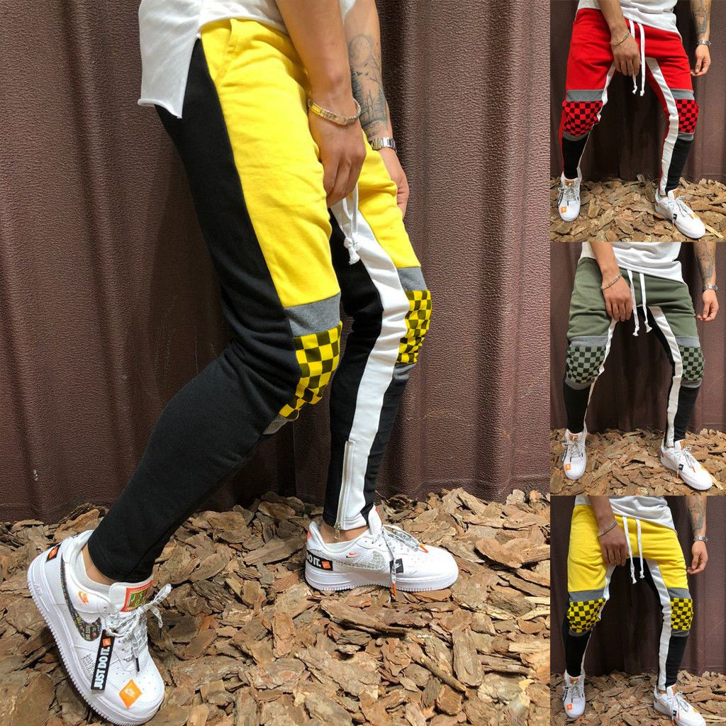 Men's Track Pants Casual Sports Plaid Jogging Bottoms Joggers Gym Sweats Trouserseticdress-eticdress