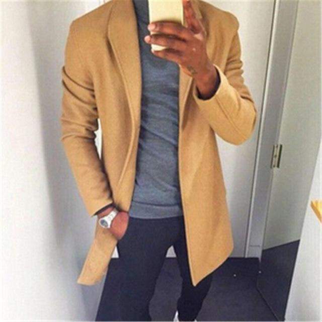 2018 Winter Wool Coat Men Casual Long Sections Woolen Coats Men's Pureeticdress-eticdress