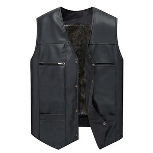 Leather Vest Men Thick Solid Tank Tops Men Motorcycle Hip Hop Waistcoateticdress-eticdress