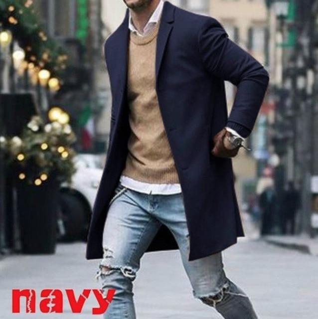 New Arrival Winter Fashion Men Slim Fit Long Sleeve Cardigans Blends Coateticdress-eticdress
