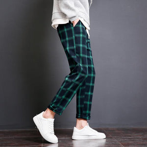2018 New Spring Fashion Plaid Loose Casual Pants Men Elastic Waistline Hipeticdress-eticdress
