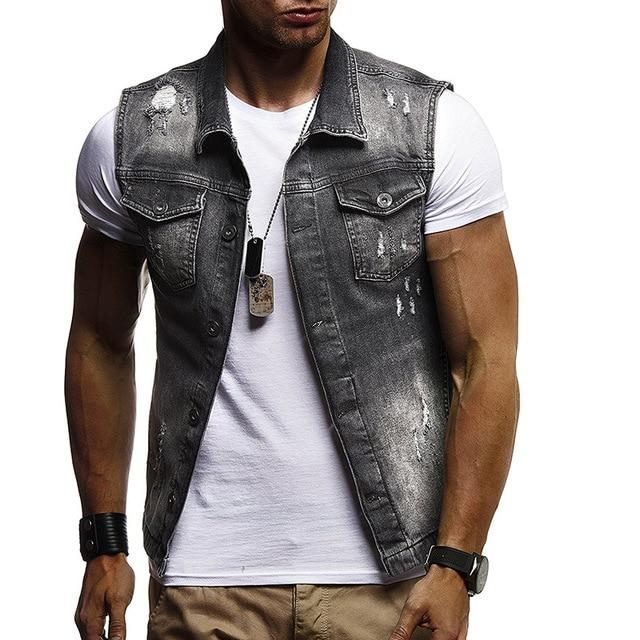 M-XXL Denim Vest Men's Jacket Sleeveless Casual Vintage Waistcoat Men's Jean Coateticdress-eticdress