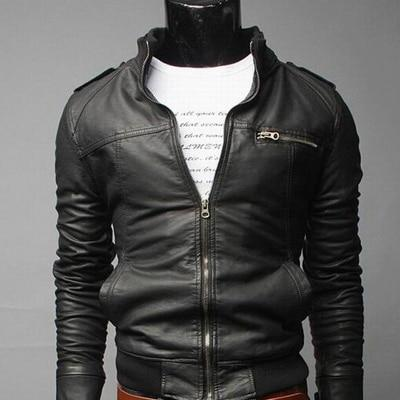 Men Leather Coat Motorcycle Leather Jackets Male Slim Casual Coats With Zippereticdress-eticdress