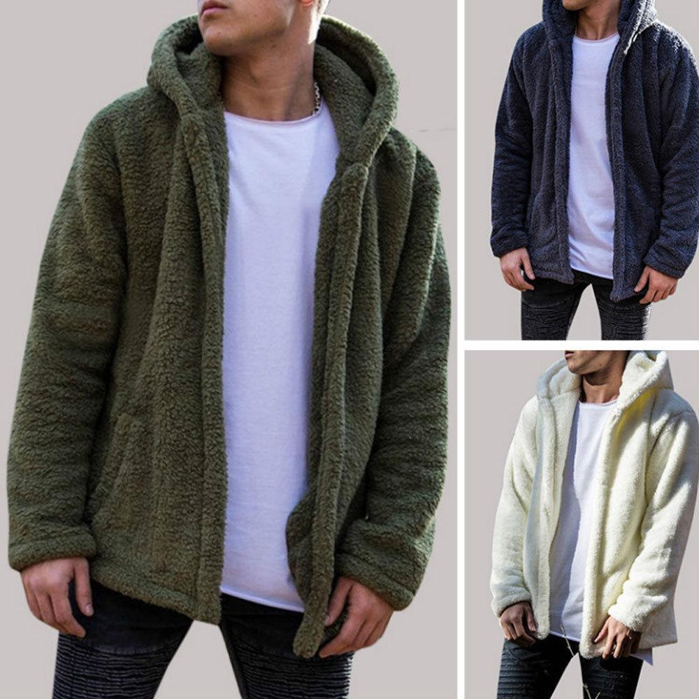 Hirigin Mens Coat Autumn Winter Casual Loose Double-Sided Plush Hoodie Fluffy Fleeceeticdress-eticdress