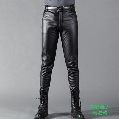 Summer Mens Business Slim Fit Stretchy Black Faux Leather Pants Male Elasticeticdress-eticdress
