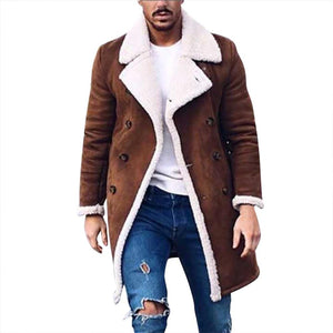Men's Wool Warm Winter Trench Long Outwear Button Smart Overcoat Coats waterproofeticdress-eticdress