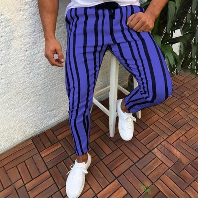 Pants 2018 New Brand Men Casual Stripped Long Pants Fitness Workouteticdress-eticdress