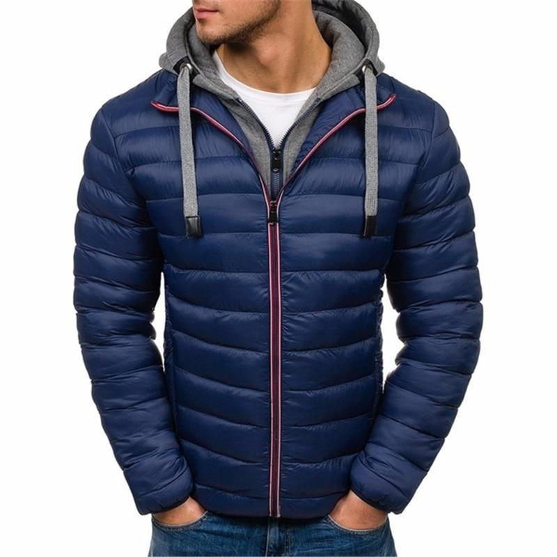 S-3XL Plus Size Men's Fashion Winter Warmth Hooded Hacket Puffer Cottoneticdress-eticdress