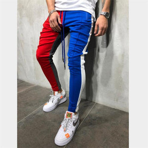 Mens Slim Fit Sweatpants Drawstring Striped Track Pants Color Block Patchwork Joggingeticdress-eticdress