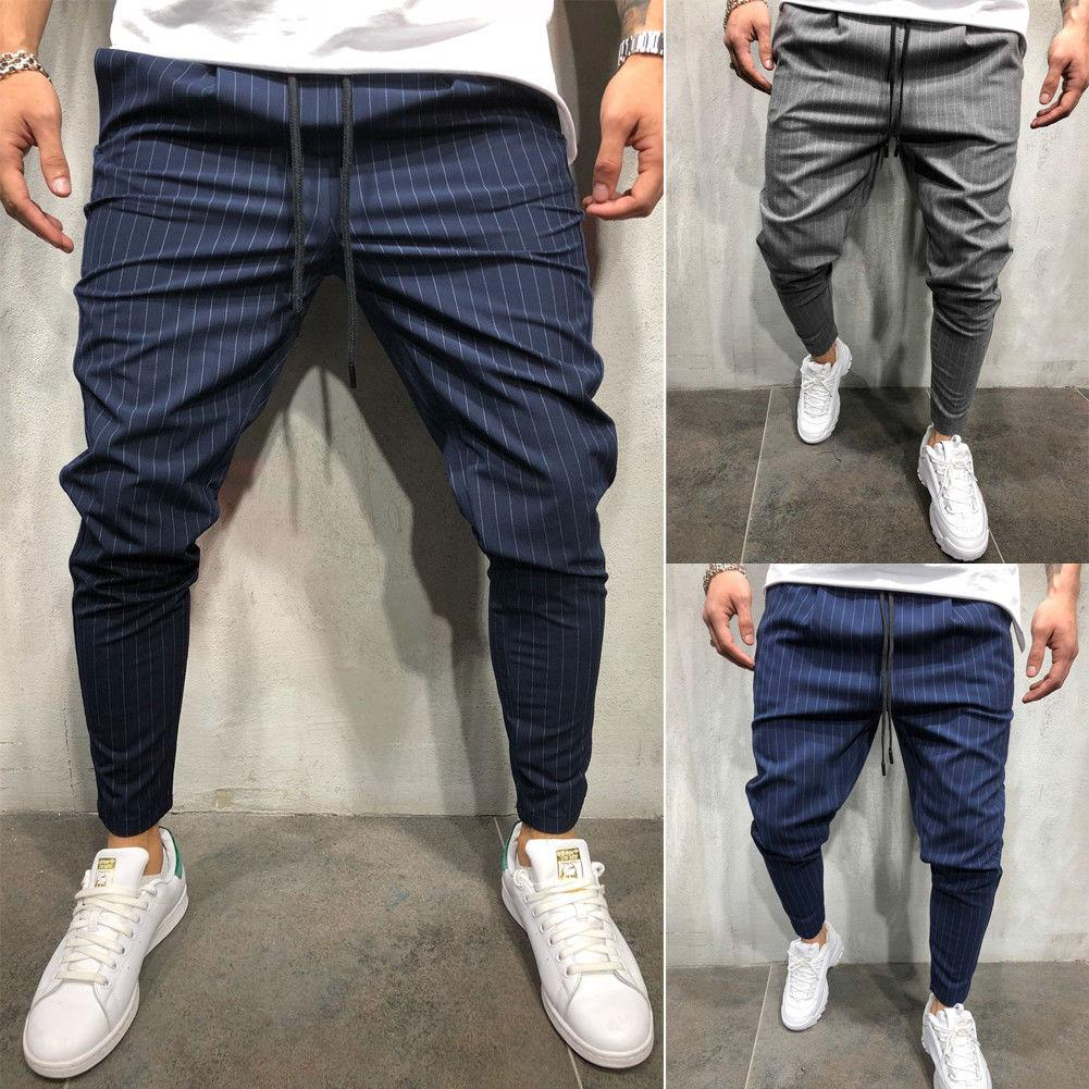 2018 Men Fashion Skinny Stretch Jogger Trousers Slim Fit Straight Leg Suiteticdress-eticdress
