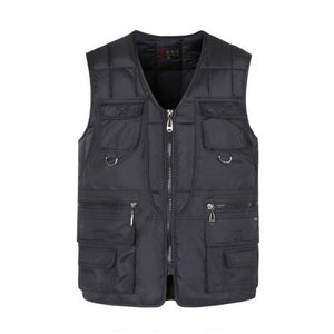 Multi Pocket Cotton Vest For Men Winter Padded Casual Thick Warm Photographereticdress-eticdress