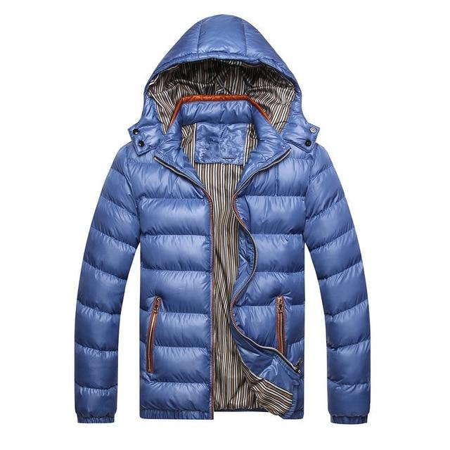 2018 New Autumn Winter Men Jacket Coats Solid Hooded Warm Parka Meneticdress-eticdress