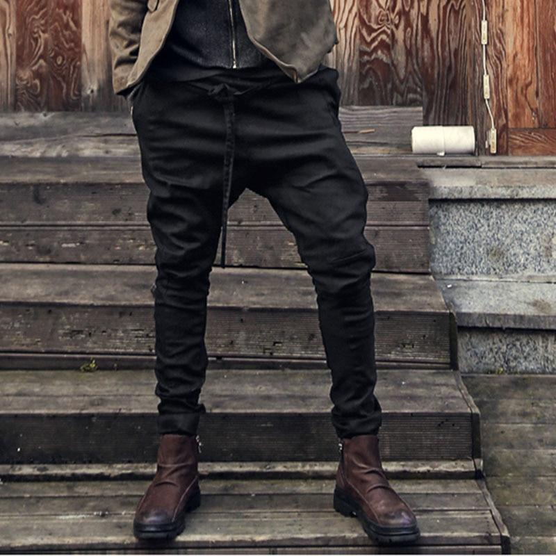 England Style Autumn Men's Casual Pants Slim Fit Harem Hiphop Cross-Pants Dropeticdress-eticdress