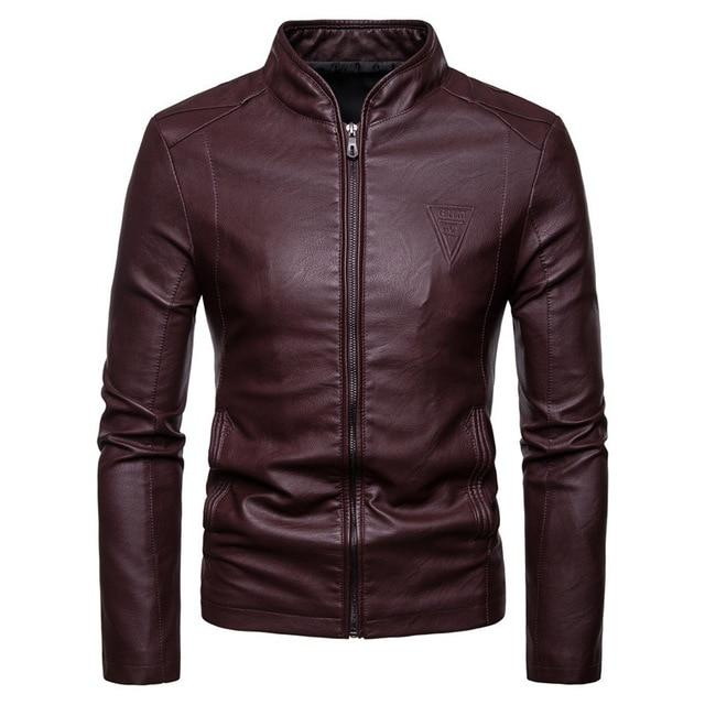 Fashion Men Autumn Winter Warm Casual Leather Zipper Long Sleeve Jacket Coateticdress-eticdress