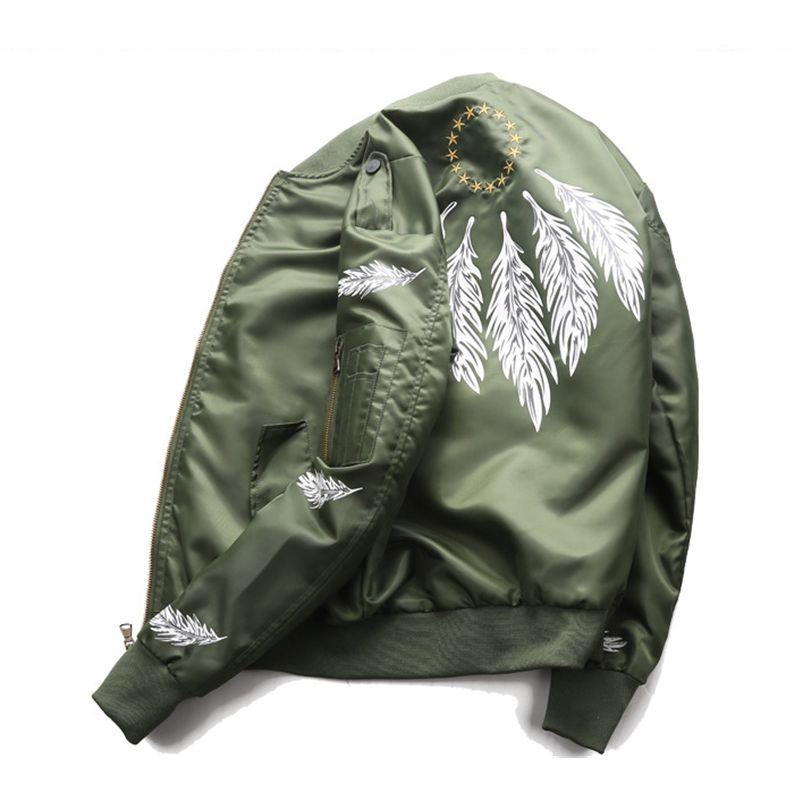 Feather Print Couple Flying Air Force Jacket Men Ma-1 Bomber Jacketeticdress-eticdress