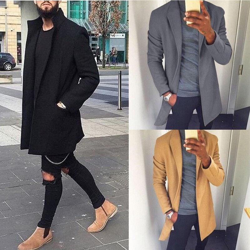 2019 Autumn Winter Men Casual Coat Thicken Woolen Trench Coat Business Maleeticdress-eticdress
