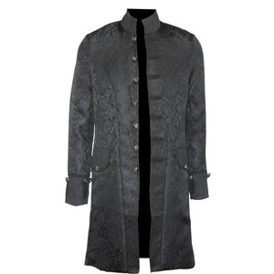 Retro Mens Steampunk Gothic Brocade Jacket Stand Collar Victorian Morning Frock Coateticdress-eticdress