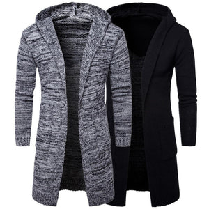 2018 Mens Slim Fit Hooded knit Sweater Fashion Cardigan Long Trench Coateticdress-eticdress