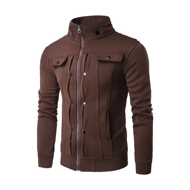 Casual Mens Jackets Solid Color zipper Jacket Male Casual Stand Collar Cottoneticdress-eticdress