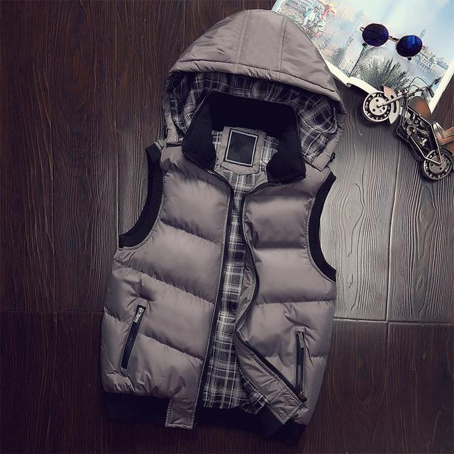 New Winter Hooded Vest Men Hat Detachable Warm Sleeveless Jackets Mens Higheticdress-eticdress