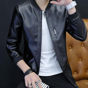 2018 Brand Leather Jacket Men Fashion Style Spring Autumn PU Leather Coatseticdress-eticdress