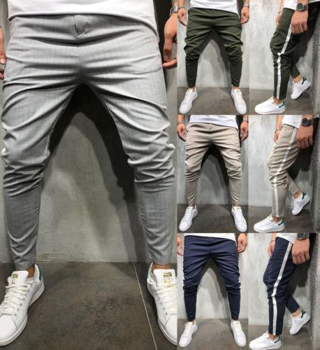 High Sale Men Casual Pants Striped Print Slim Fit Sweatpants Workout Skinnyeticdress-eticdress